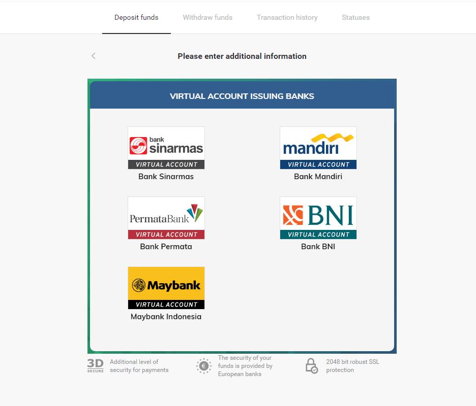 इंडोनेशिया बैंक ट्रांसफर (वर्चुअल अकाउंट, वर्चुअल अकाउंट बैंक मंडीरी, इंटरनेट बैंकिंग) के जरिए Binomo में डिपॉजिट फंड
